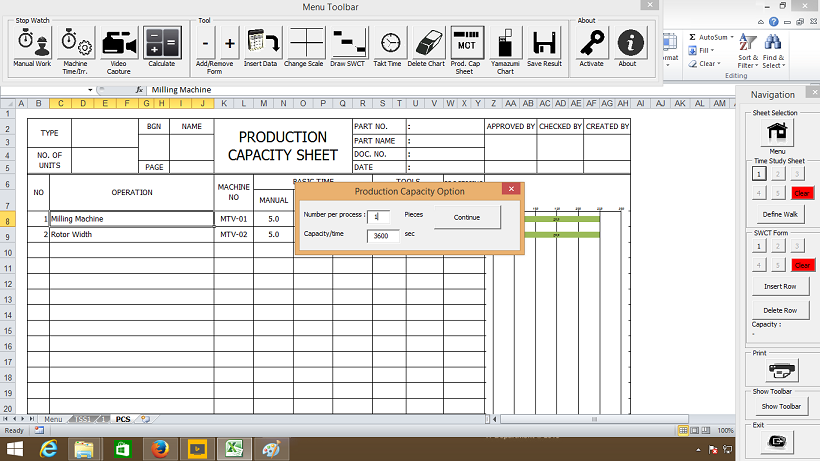 Production Capacity Sheet
